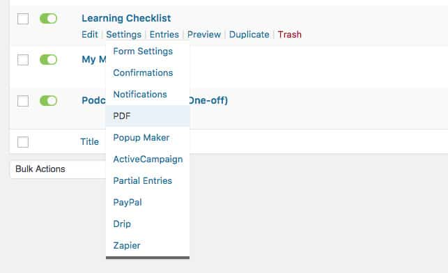 Screen Shot 1 2 - How to create a PDF quiz or Checklist with GravityForms