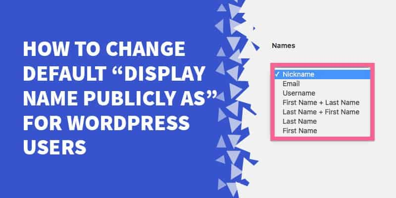 "[WordPress Plugin] How to Change Default ""Display Name Publicly As"" for WordPress Users"