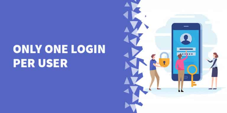 Only one login per user 768x384 - The Best Membership Plugins for WordPress in 2019 (Based on real work with our customers!)