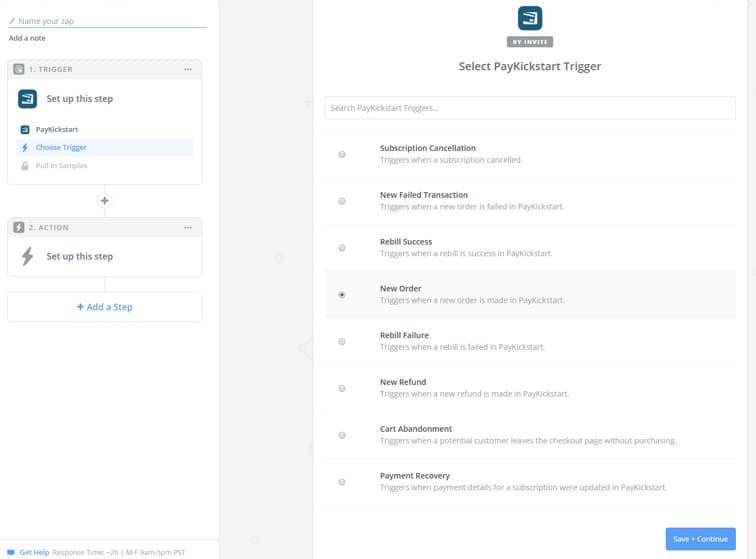 choose trigger - Change MemberMouse level, update PayKickStart subscription