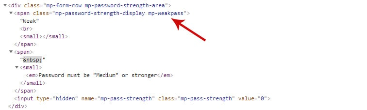 css code weak pass - How to style the MemberPress password strength indicator