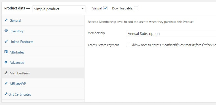 wocommerce memberpress - Use WooCommerce to allow gifting of MemberPress products