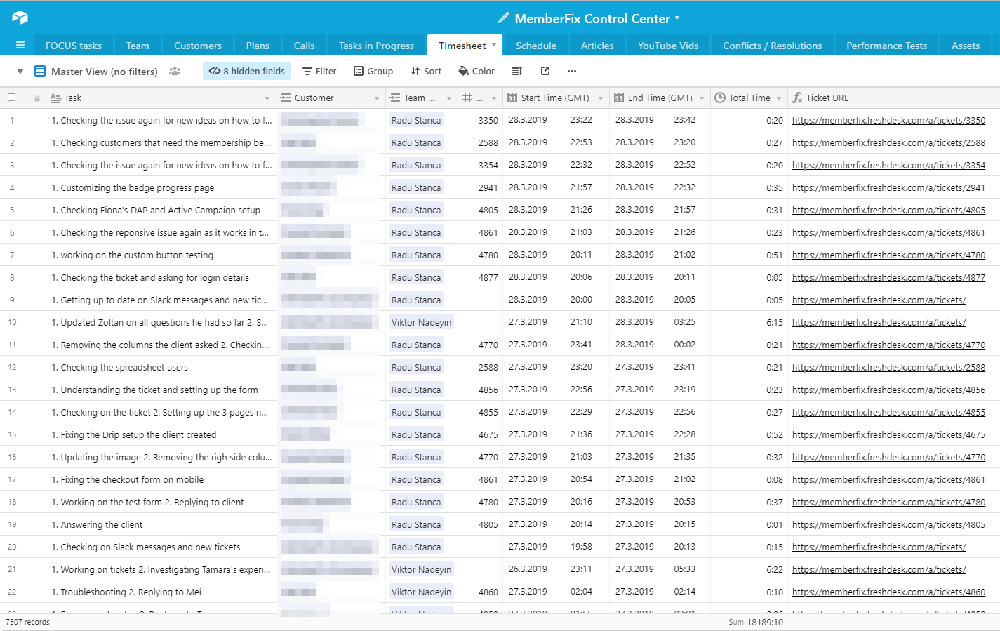 MemberFix Control Center Timesheet Airtable Google Chrome 2019 03 29 06.00.03 - How we track timesheet entries in Airtable