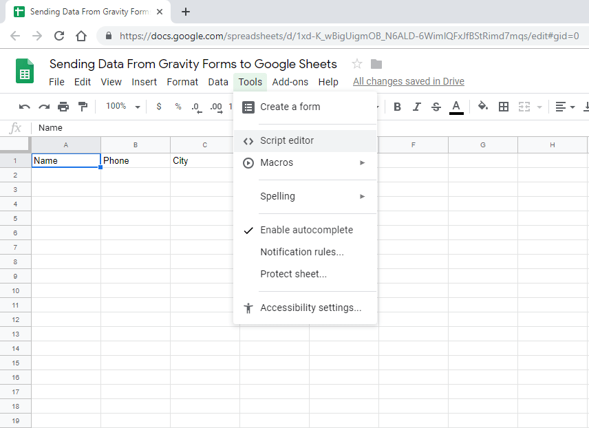 Screenshot 2 - How to send data from GravityForms to Google Sheets