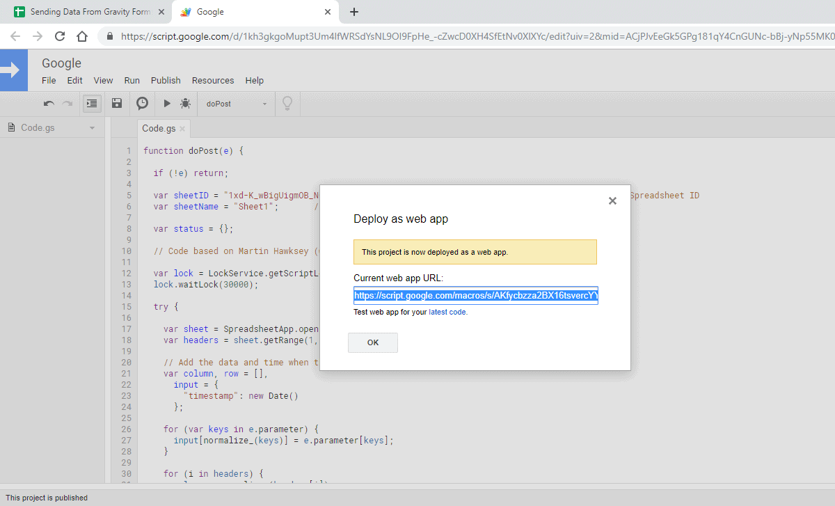 Screenshot 9 - How to send data from GravityForms to Google Sheets