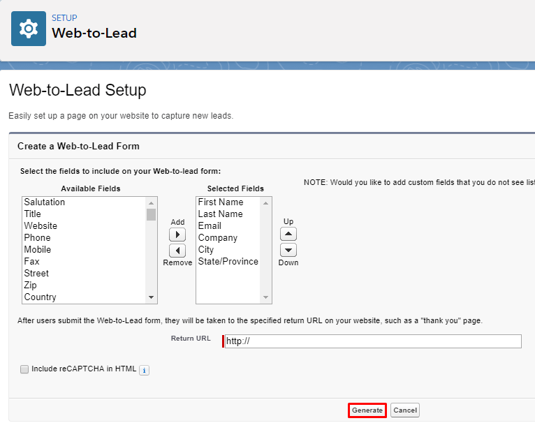 Web to lead Setup - How to add Contact Form leads into SalesForce