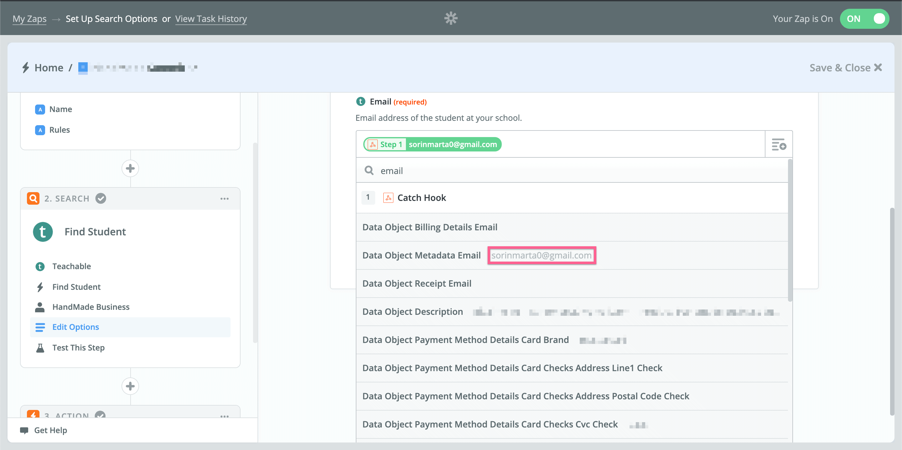 step 16 in Zapier - Removing Teachable access based on Stripe subscriptions