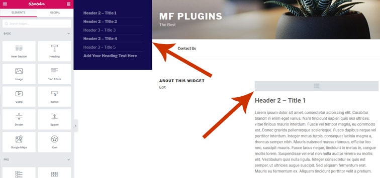 "toc on page - [WordPress Plugin] Elementor ""Sticky"" Table of Contents Widget"