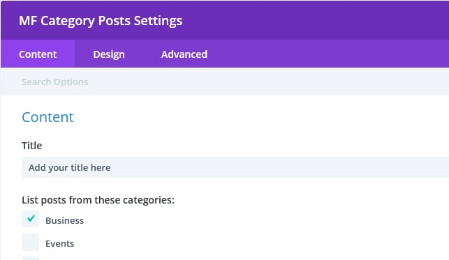 divi mf module settings - [Divi Module] Display a LIST of Posts From A Category
