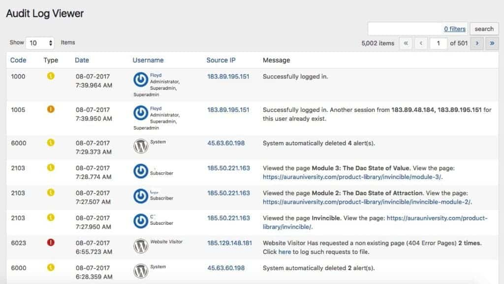 audit log 1024x576 - The Ultimate, Anti-Fragile Tech Stack for Your WordPress Membership Site