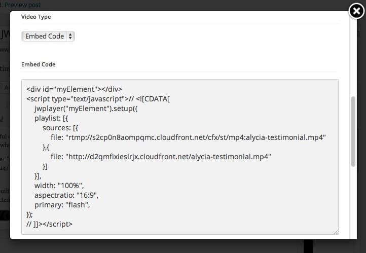 embed code - Embedding JWPlayer In An OptimizePress Video Lightbox Element