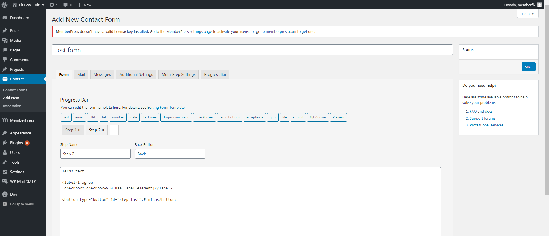 Screenshot 166 - How to add mandatory multistep Terms of use to Memberpress purchase form