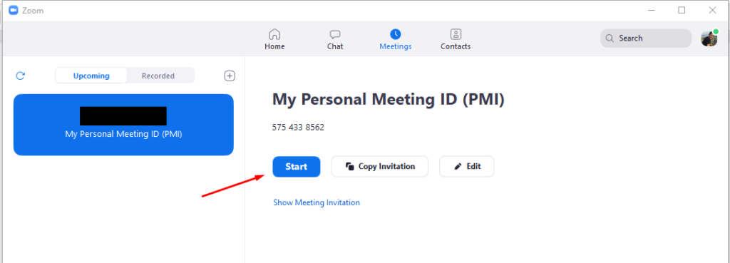 1. Start Zoom meeting 1024x369 - Automatically upload Zoom recordings to Google Drive