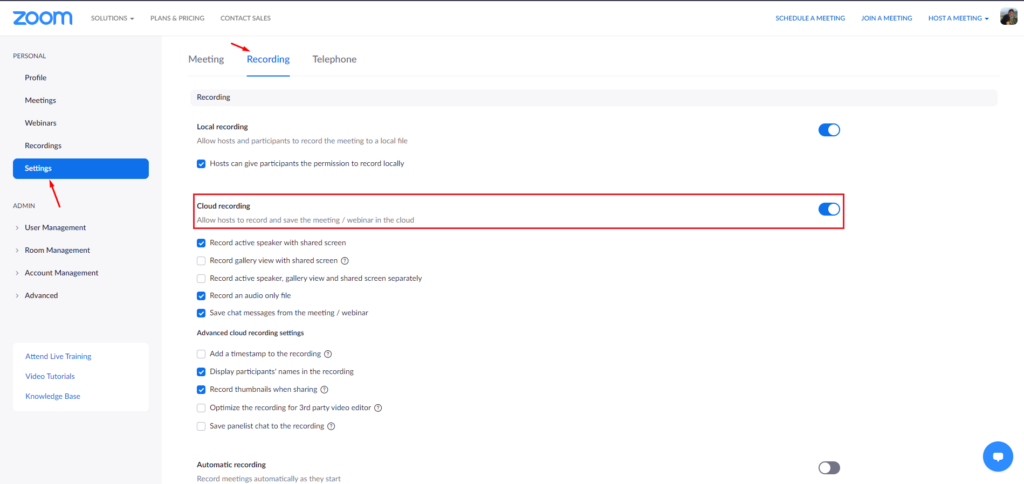 1. Zoom settings 1024x484 - Automatically upload Zoom recordings to Google Drive