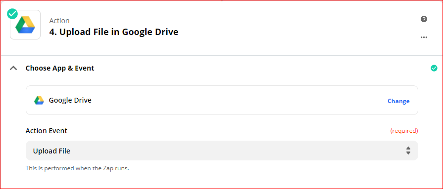 Choose app and event GDrive - Automatically upload Zoom recordings to Google Drive