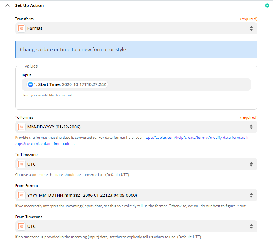 Set up action Format - Automatically upload Zoom recordings to Google Drive