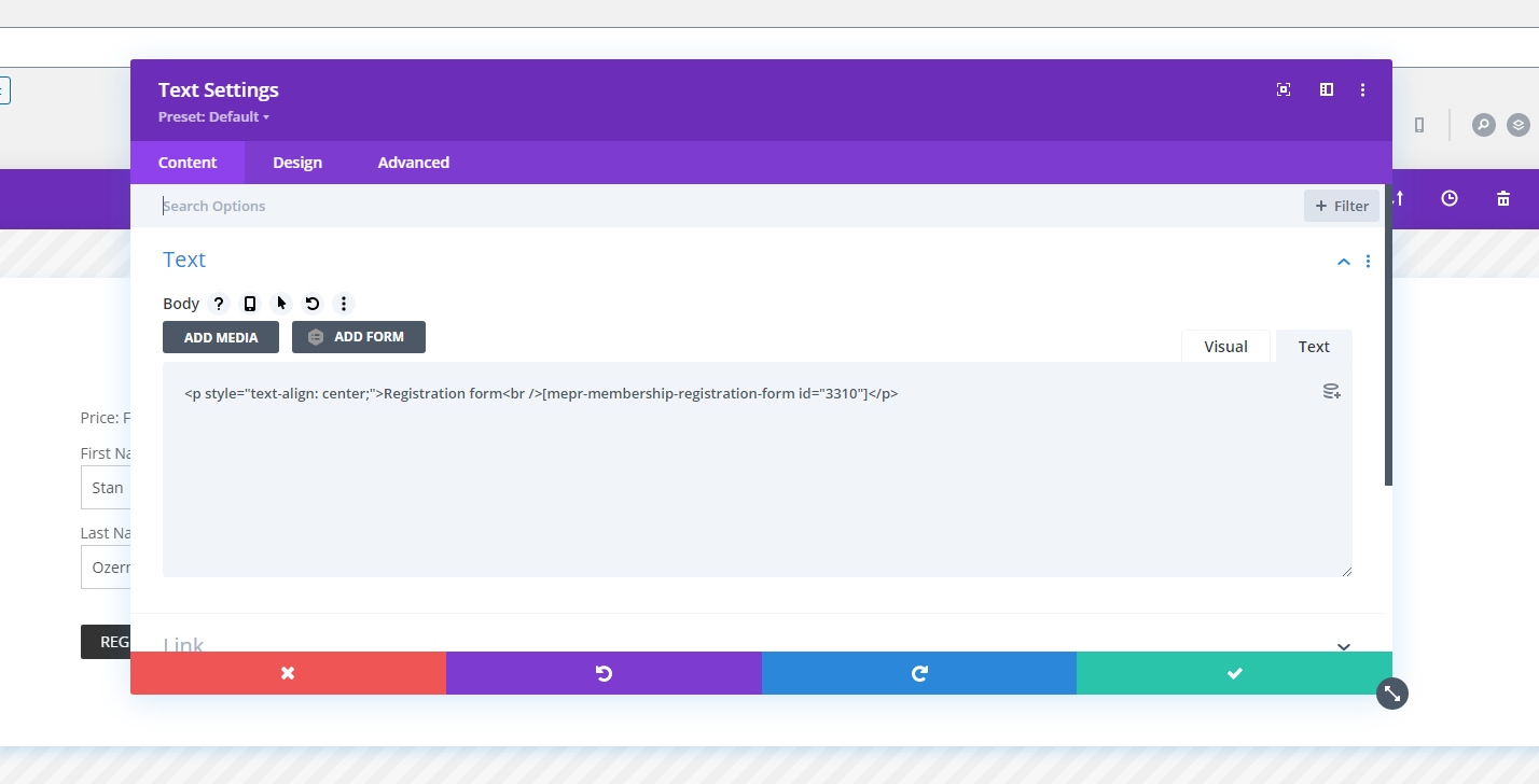 Screenshot 3 - Showing and hiding the Divi Area Popup using inner content as a trigger
